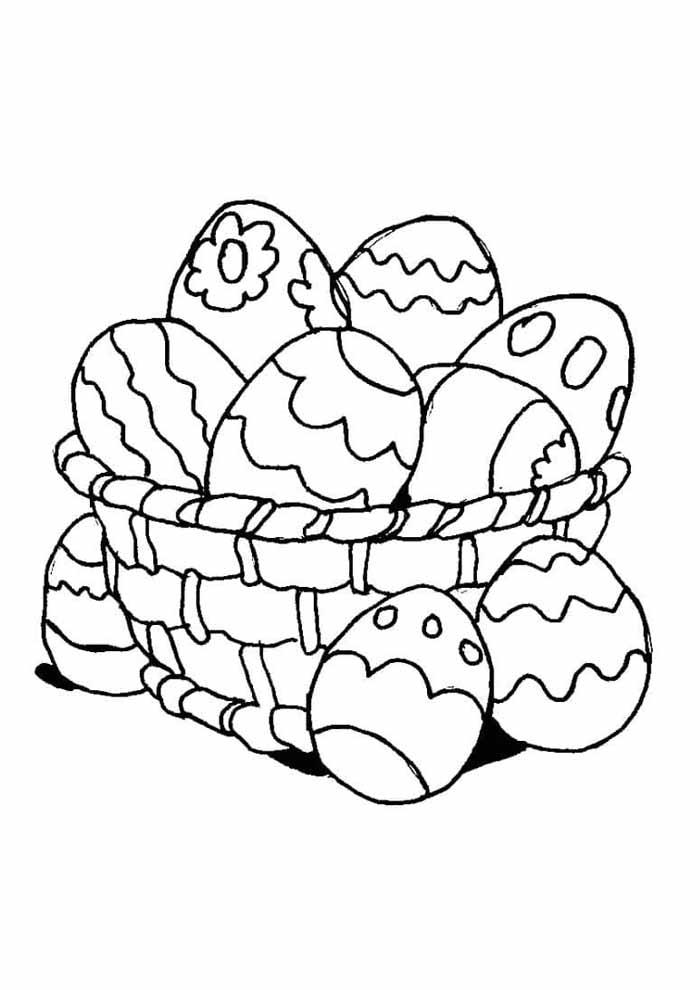 cesta linda ovos de páscoa para colorir