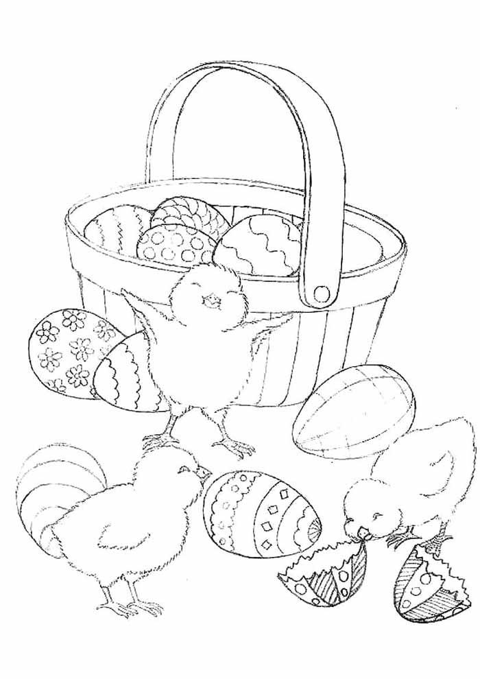 cesta ovos de páscoa e pintinhos para colorir