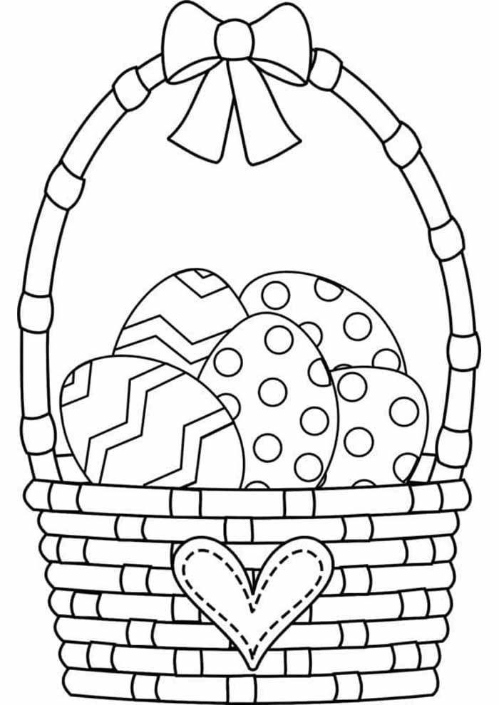 cesta ovos de páscoa para colorir
