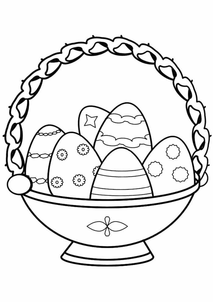 cesta religiosa de ovos de páscoa para colorir