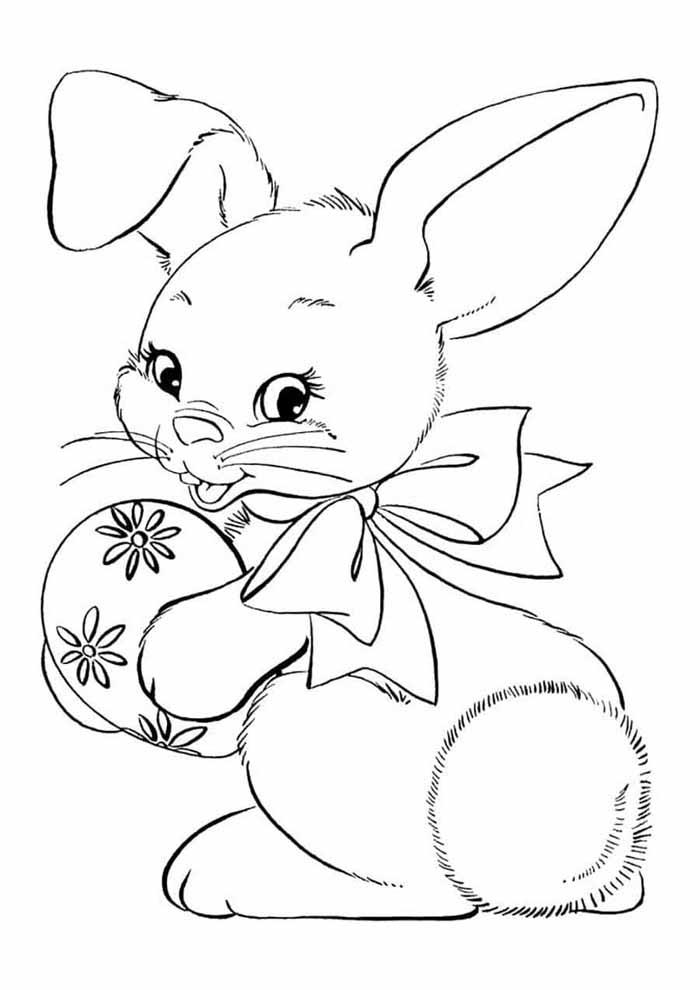 coelhinho com ovo de páscoa para colorir