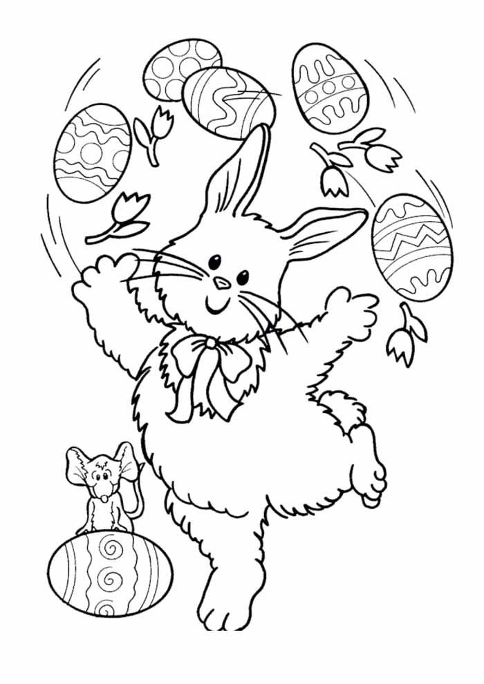 coelho da páscoa com ovos para colorir