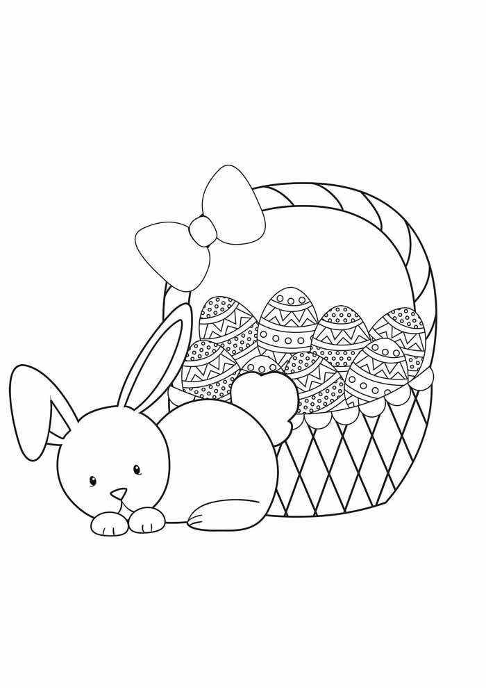 coelho e cesta de ovos de páscoa para colorir