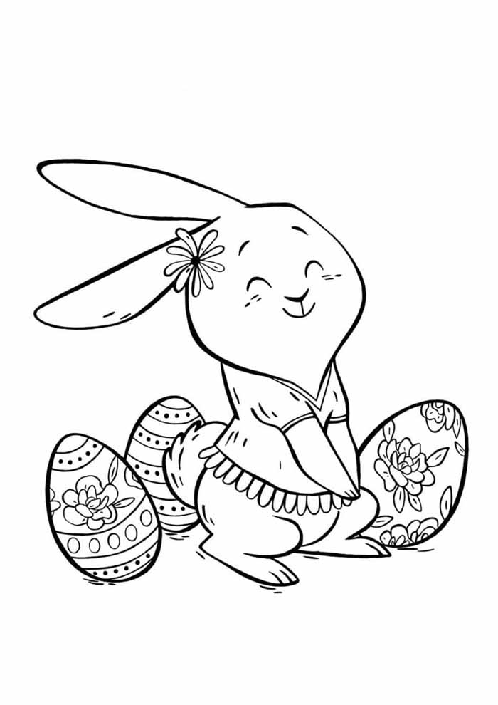 coelho e ovinhos de páscoa para colorir