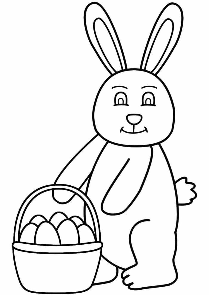 coelho e ovo de páscoa na cesta para colorir