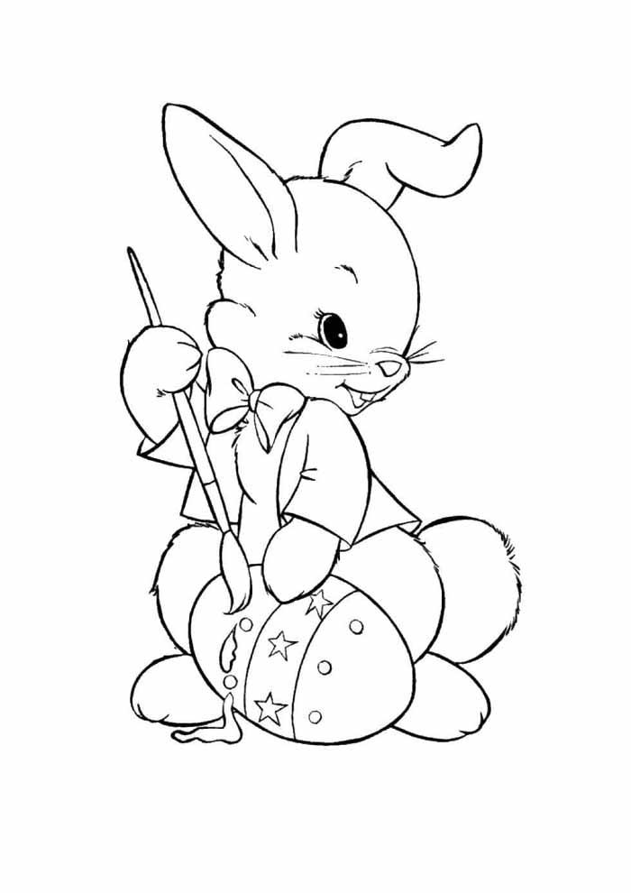 coelho pintando ovo de páscoa para colorir