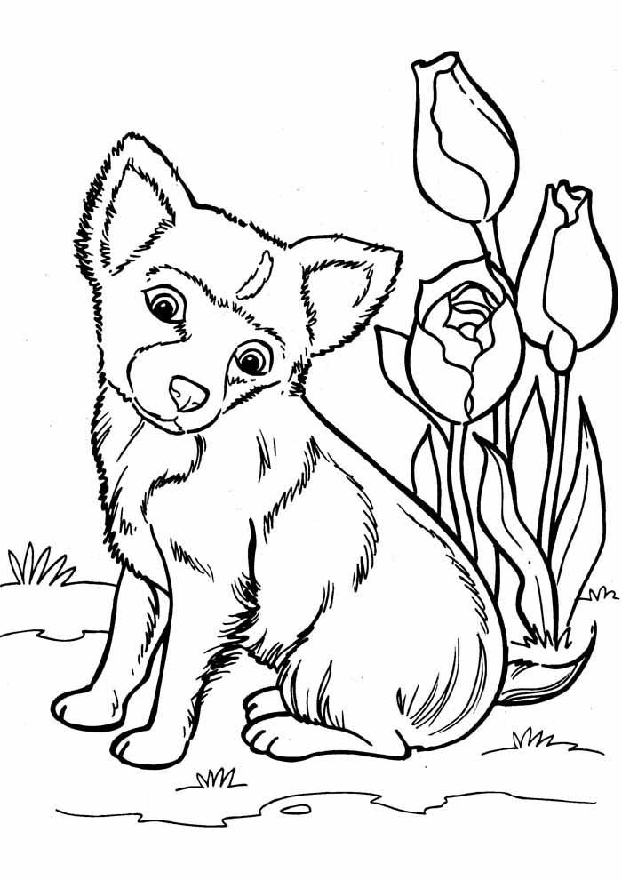 desenho-de-cachorro-para-colorir-com-flores