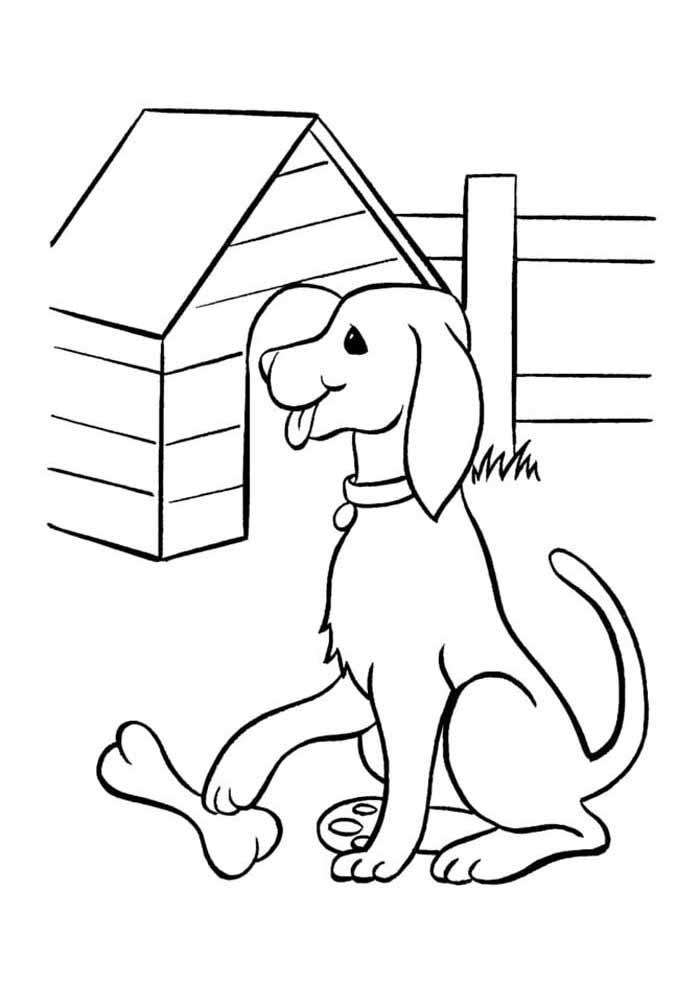 desenho-de-cachorro-para-colorir-com-osso-e-casa