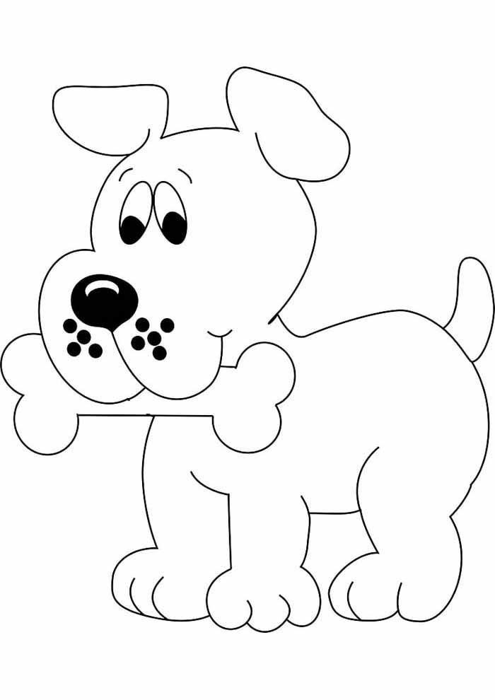 desenho-infantil-para-colorir-cachorro-com-osso-na-boca