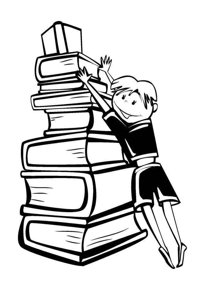 escola para colorir menino arrumando livros