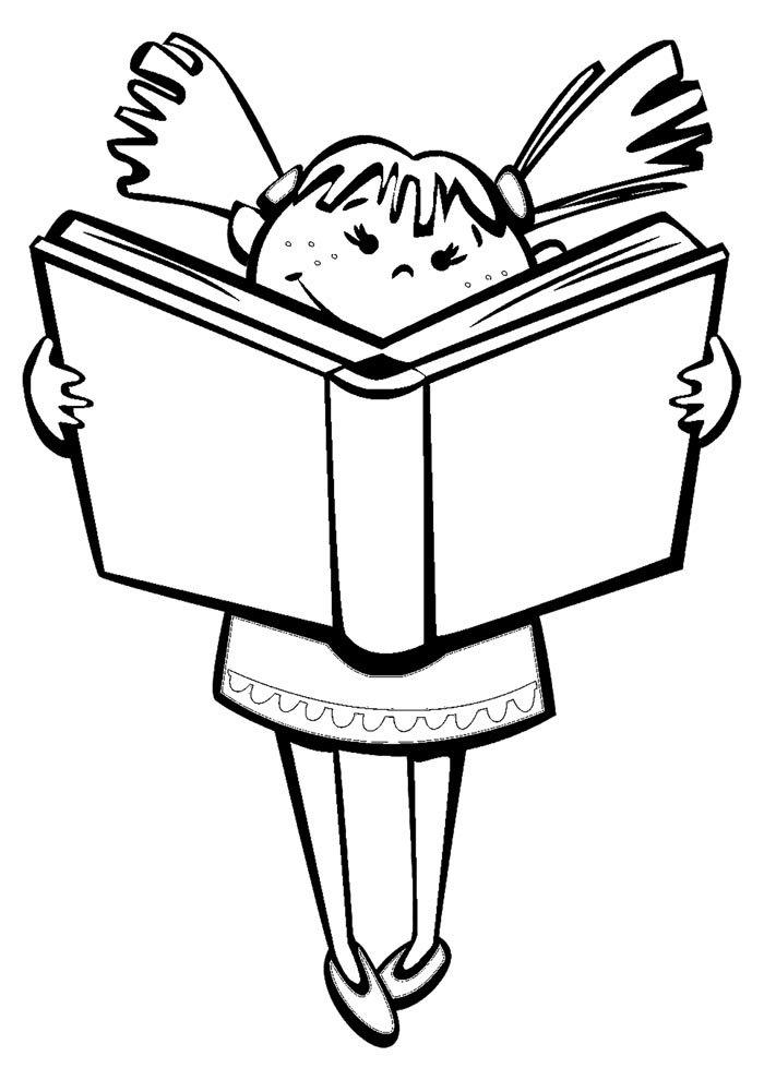 escola para colorir menina lendo livro