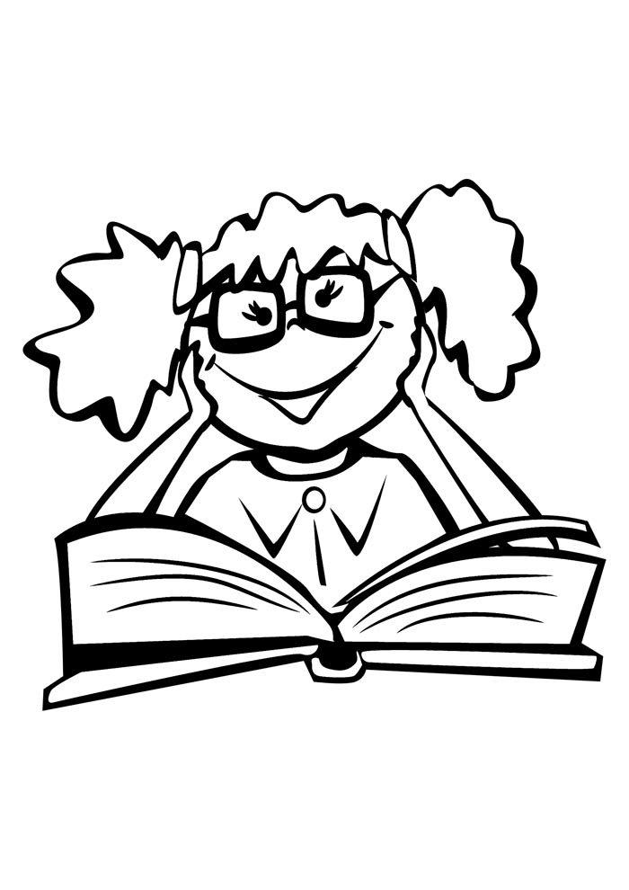 escola para colorir menina lendo