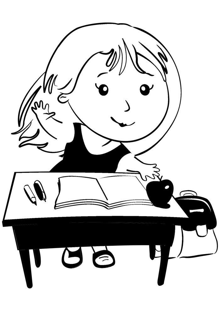 escola para colorir menina na sala de aula