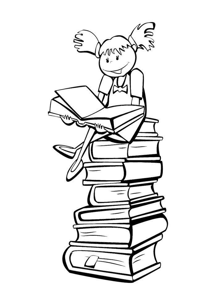 escola para colorir menina sentada nos livros