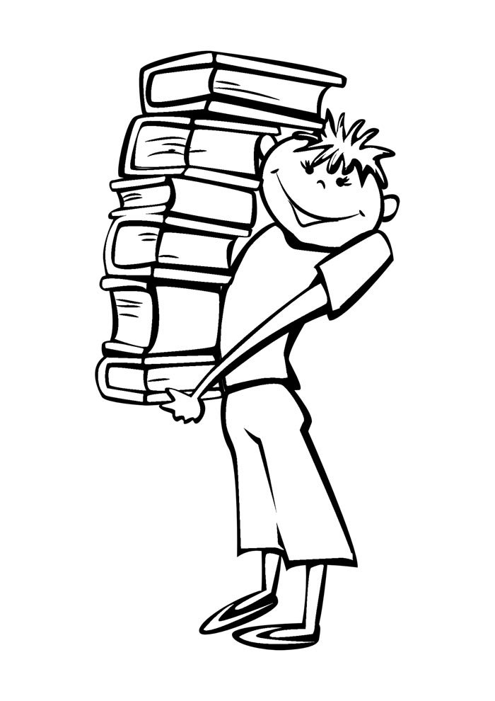 escola para colorir menino carregando livros