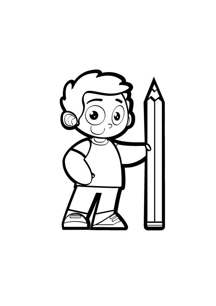 escola para colorir menino segurando lápis