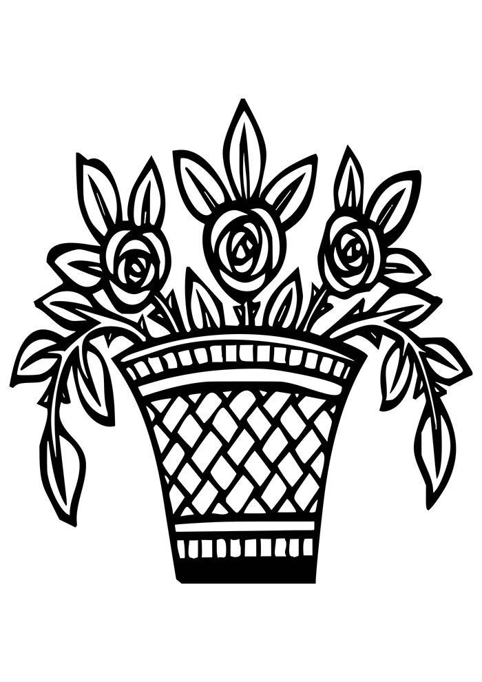 flores-para-colorir-cesto-de-flores
