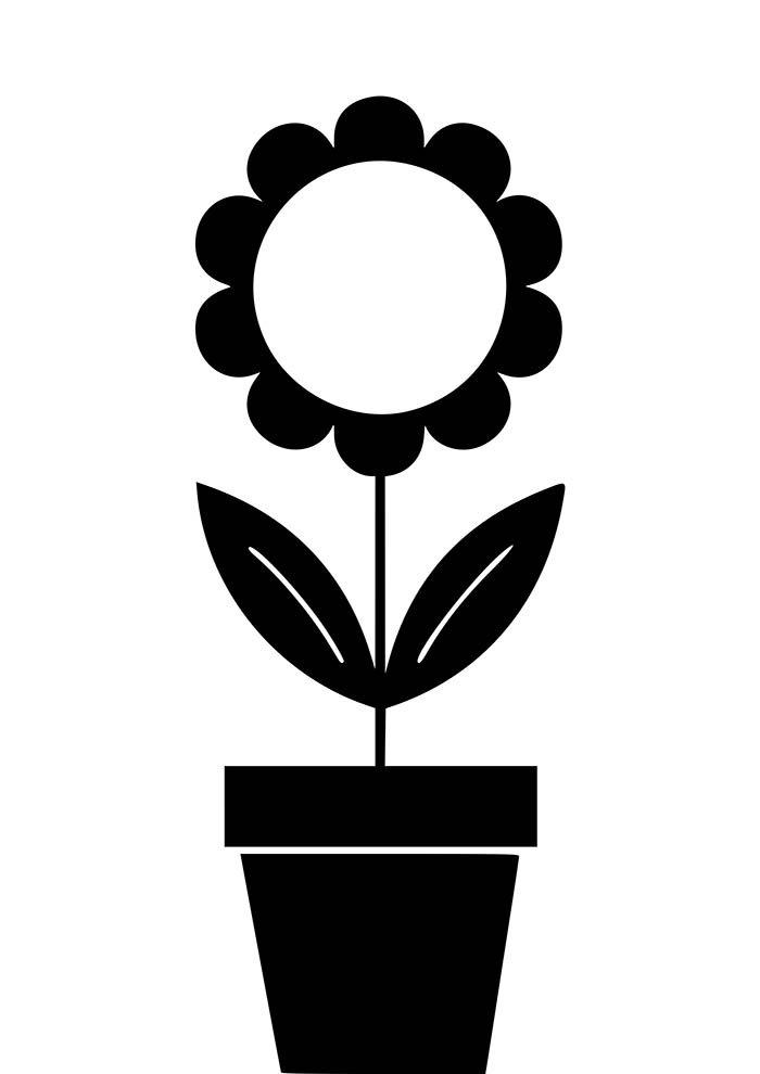 flores-para-colorir-girasol-no-vaso