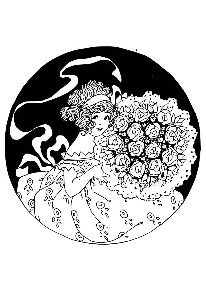 flores-para-colorir-menina-do-buque