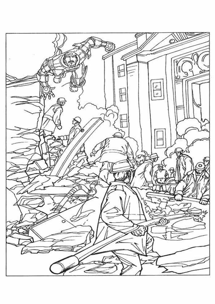 homem de ferro para colorir cidade destruída