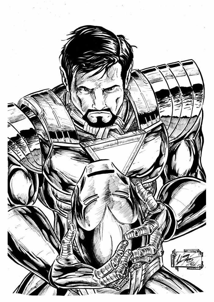 homem de ferro sem máscara para colorir