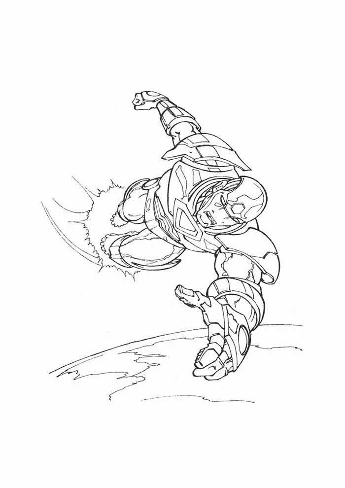 homem de ferro voando para colorir
