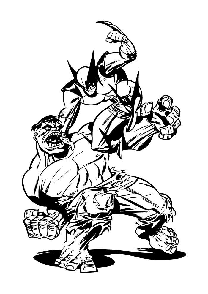 hulk e volverine para colorir