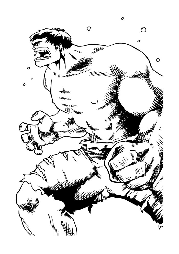 hulk para colorir clássico