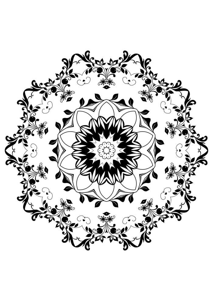 mandala-para-colorir-com flores