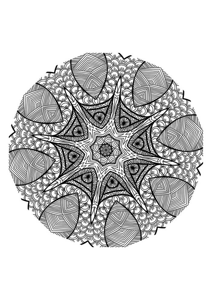 mandala-para-colorir-detalhada-estrela do mar