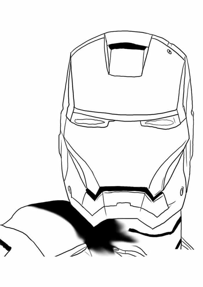 mascara do homem de ferro para colorir