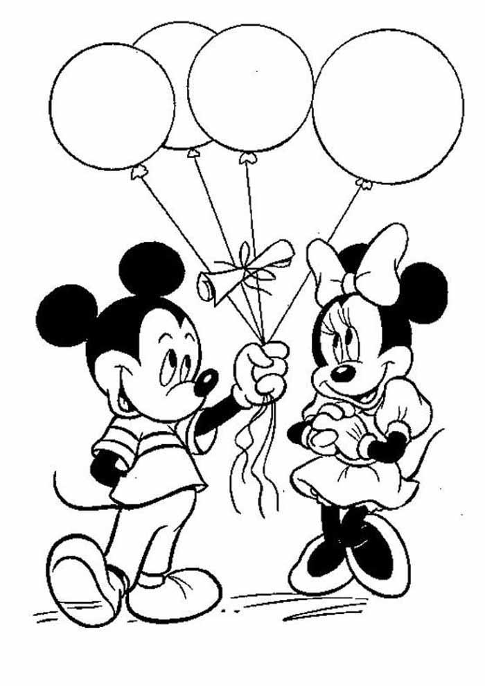 minnie para colorir ganhando balão do mickey