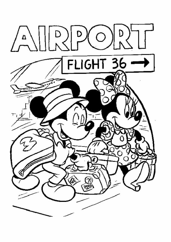 minnie para colorir no aeroporto com mickey