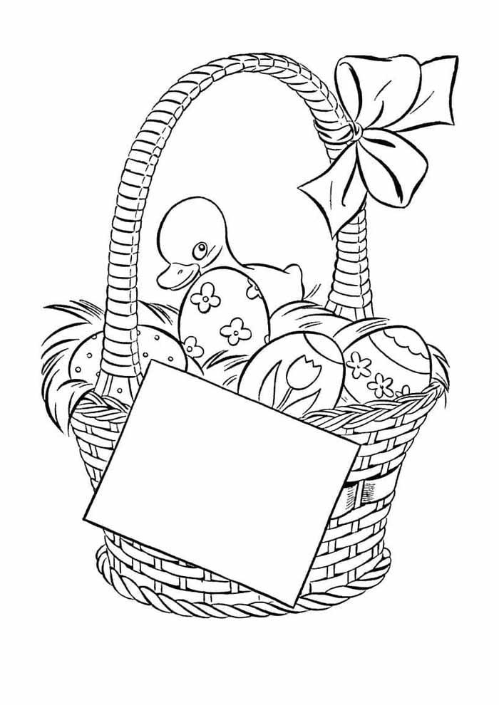 páscoa para colorir cesta de ovos