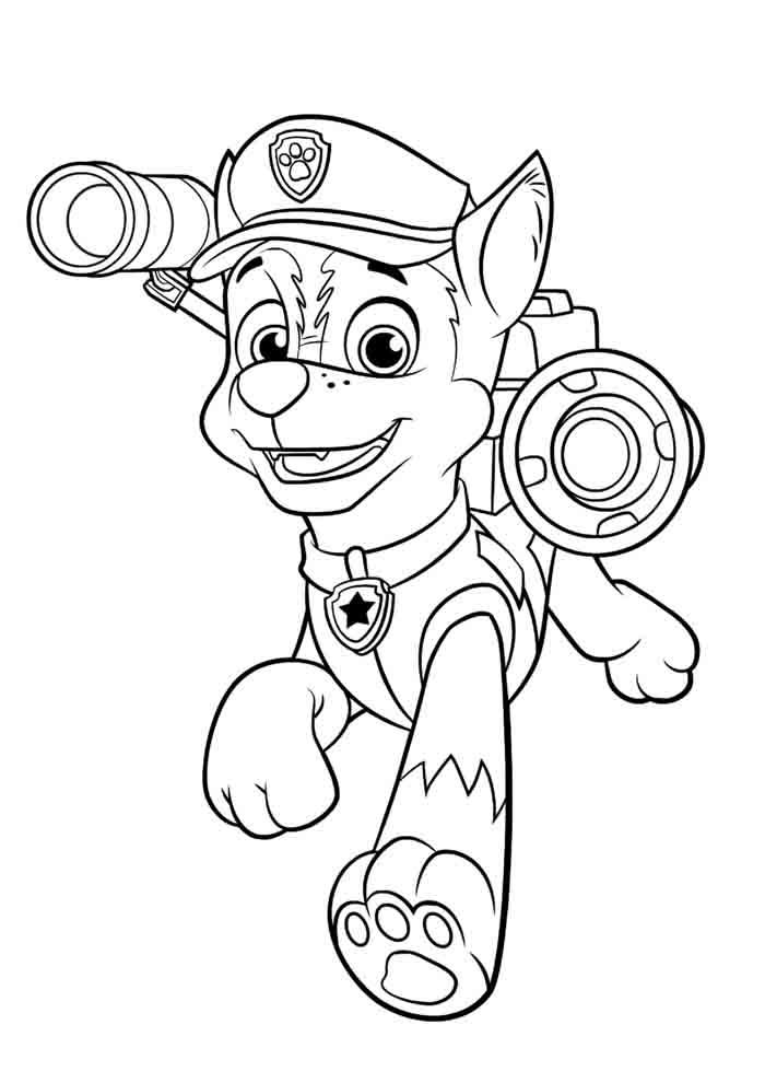 patrulha canina para colorir chase andando