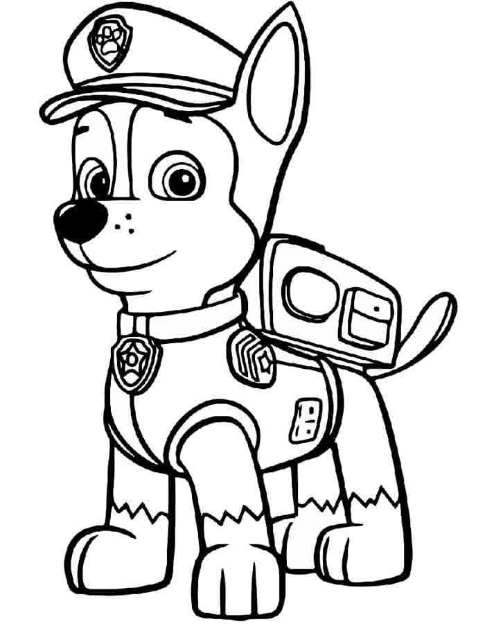 patrulha canina para colorir chase sozinho
