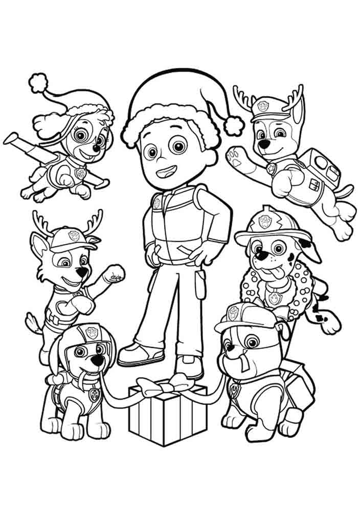 patrulha canina para colorir de natal