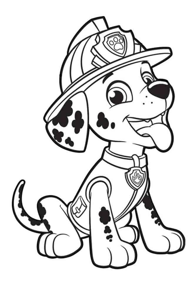patrulha canina para colorir marshall com a lingua de fora
