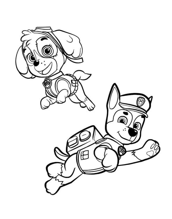 patrulha canina para colorir skye e chase pulando