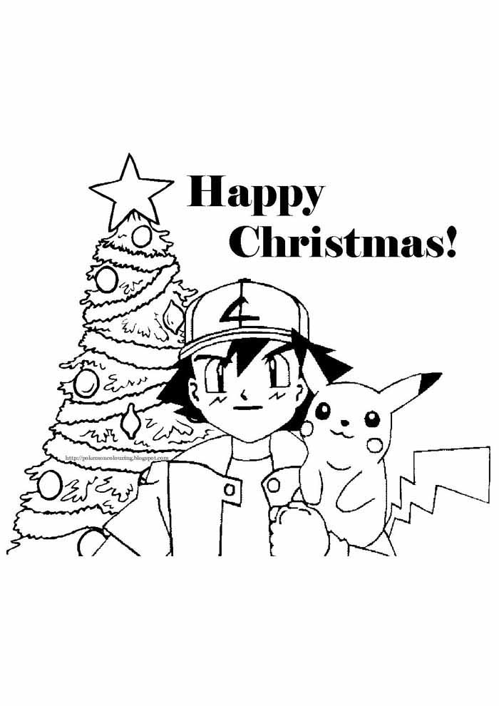pokemon para colorir pikachu no natal