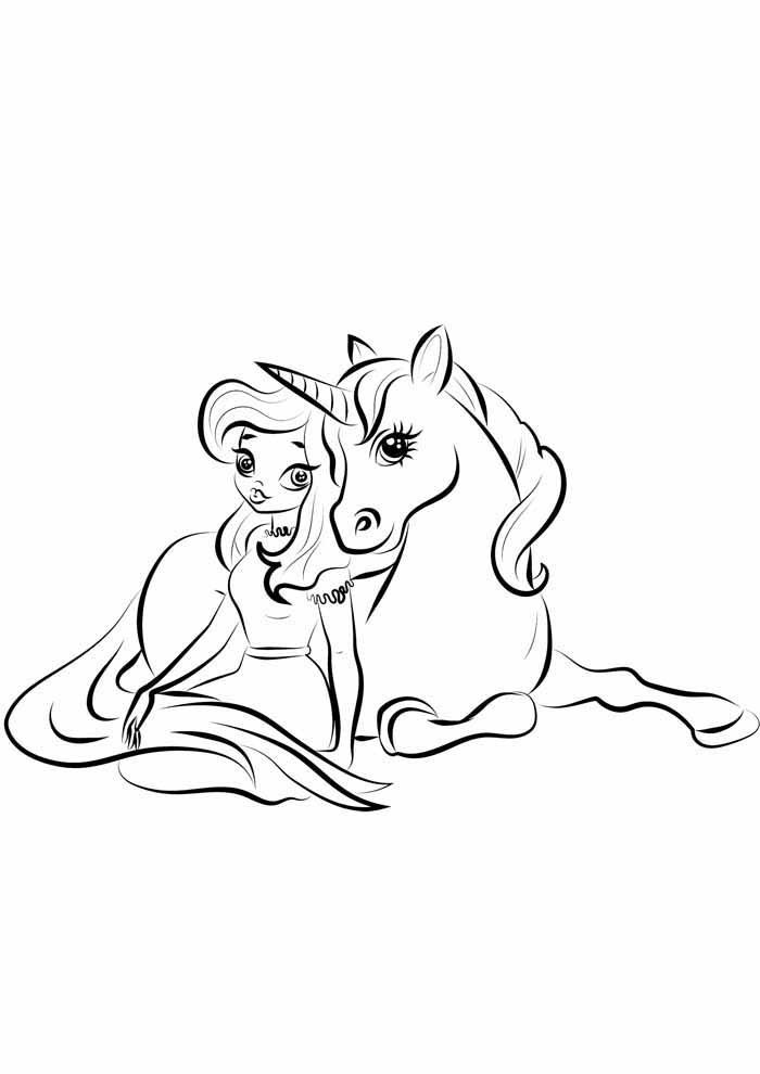 princesa e unicórnio para colorir