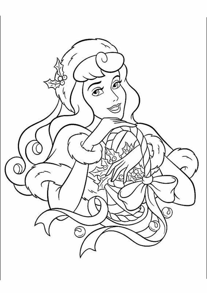 princesa no natal para colorir