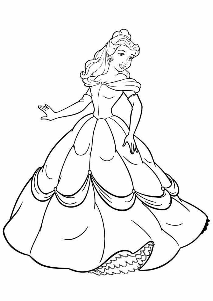 princesa para colorir a bela