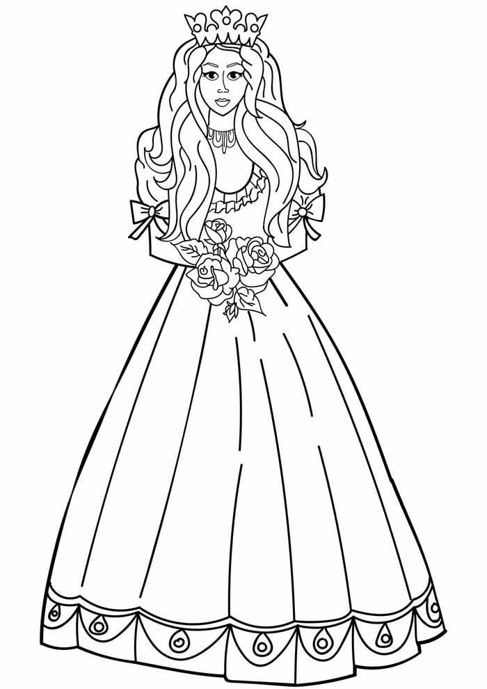 princesa para colorir com flores