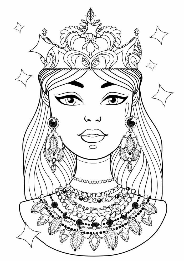 princesa para colorir coroa