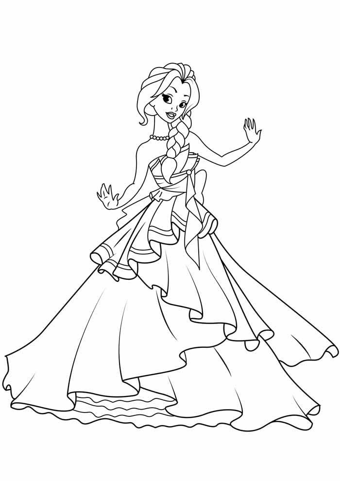 princesa para colorir dançando