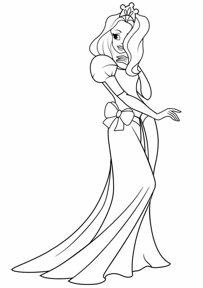 princesa para colorir elegante