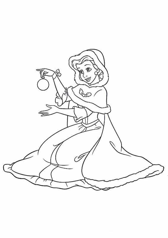 princesa para colorir enfeite de natal