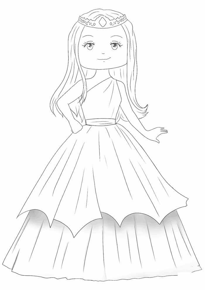 princesa para colorir fofa