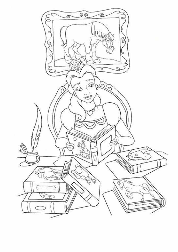 princesa para colorir lendo livros